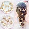 Nova folha de ouro de luxo cabeça Hairband Handmade elegante pérola Tiara noiva cabelo jóias acessórios sufei