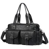 Luxury Soft Natural First Layer Cow Leather Men Handbag Multi Pockets 15 Laptop Bag Vintage Genuine Leather Men's Travel Bags