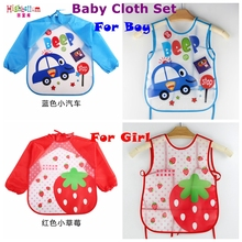 Купить с кэшбэком New Born Baby Bib Burp Clothes Set Soft Feeding Eat Toddle Waterproof Cute Cartoon Colorful Baby Bibs Long Sleeve Art Apron