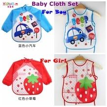 New Born Baby Bib Burp Clothes Set Soft Feeding Eat Toddle Waterproof Cute Cartoon Colorful Baby Bibs Long Sleeve Art Apron