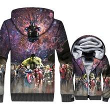 New The Avengers Jacket Super Hero Hoodie Men Harajuku Hooded Sweatshirt Winter Thick Fleece Warm Zip up 3D Print Coat Mens цена и фото