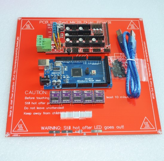 Mega 2560 R3 for arduino + 1pcs RAMPS 1.4 Controller+ 5pcs DRV8825 Stepper Driver Module+1pcs PCB Heatbed MK2B 3D Printer kit