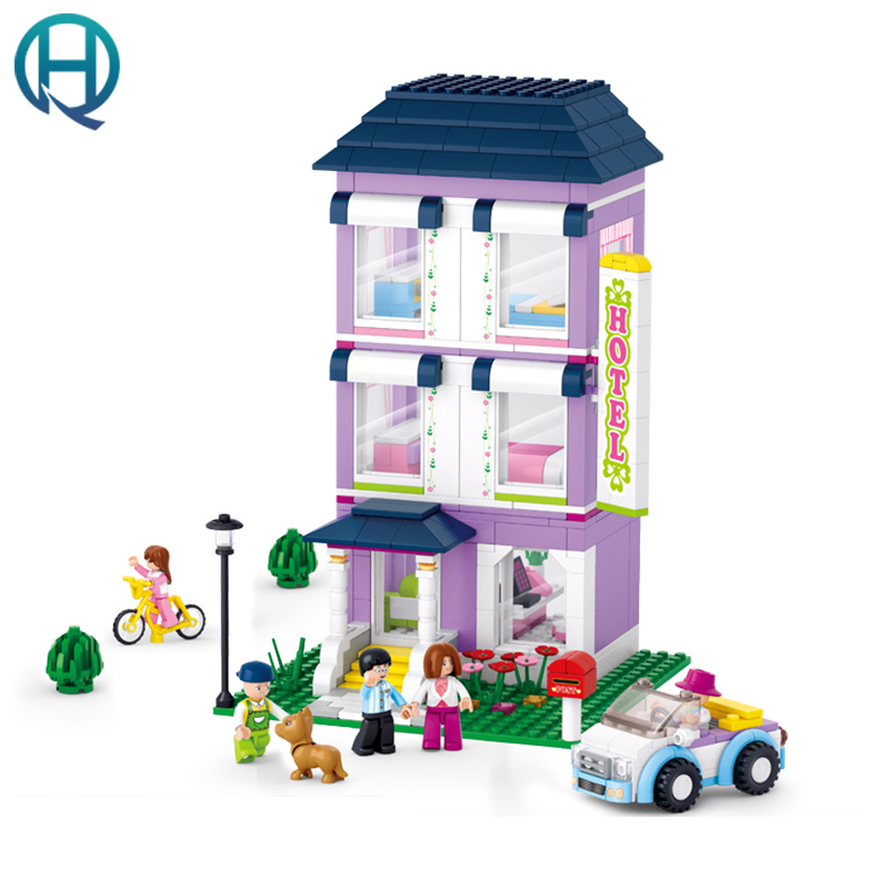 Sluban Creative DIY Small Size Children Toys Building Blocks Compatible With LEGOE Brick Youth Hostel Pink Dream Kids Girl Gift superwit 72pcs big size city diy creative building blocks brick compatible with duplo sets lepin educational toys children gifts