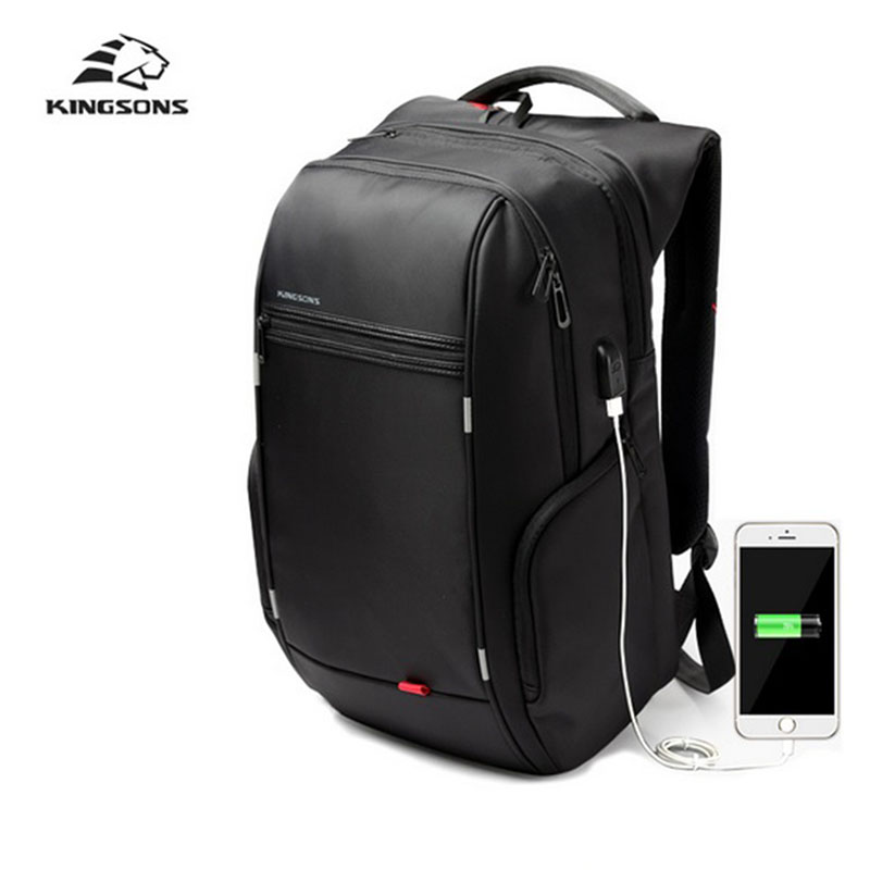 Kingsons Men Backpack Mobile Phone Sucker USB Charge 15 17 inch Notebook Anti Theft Women Luminescence