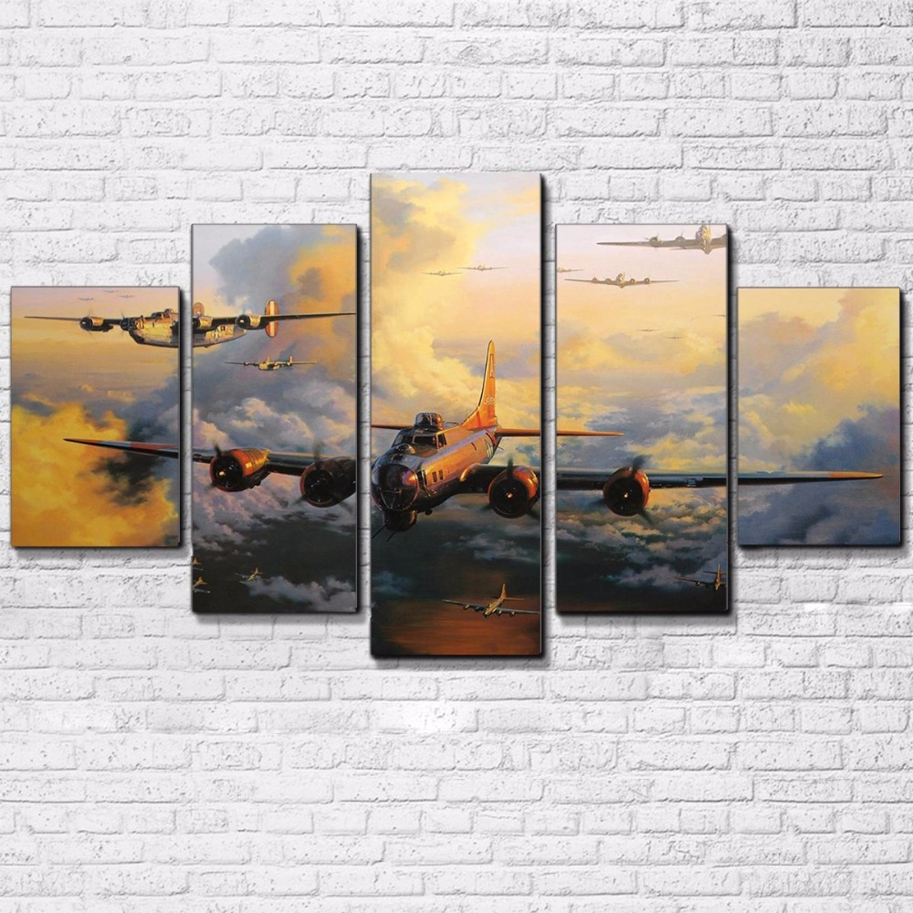 5 Pieces Jet Aircraft Poster Abstract Vintage Plane Painting Living Room Decor Canvas HD Prints Pictures Home Wall Art Framework