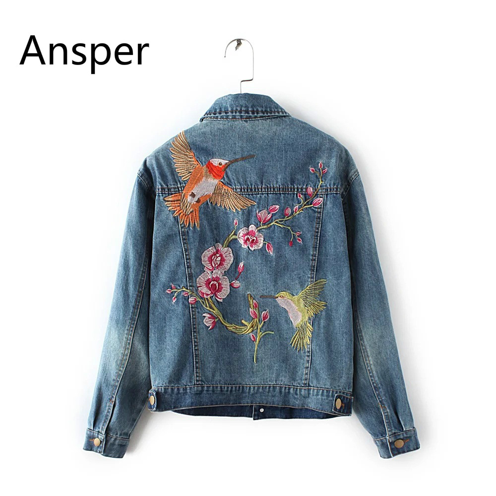 Bird Floral Embroidered Women Dzhinsovki Denim   Jacket   Coat 2018 Sprign Autumn Winter   Basic     Jackets   Coats Feminina Casaco