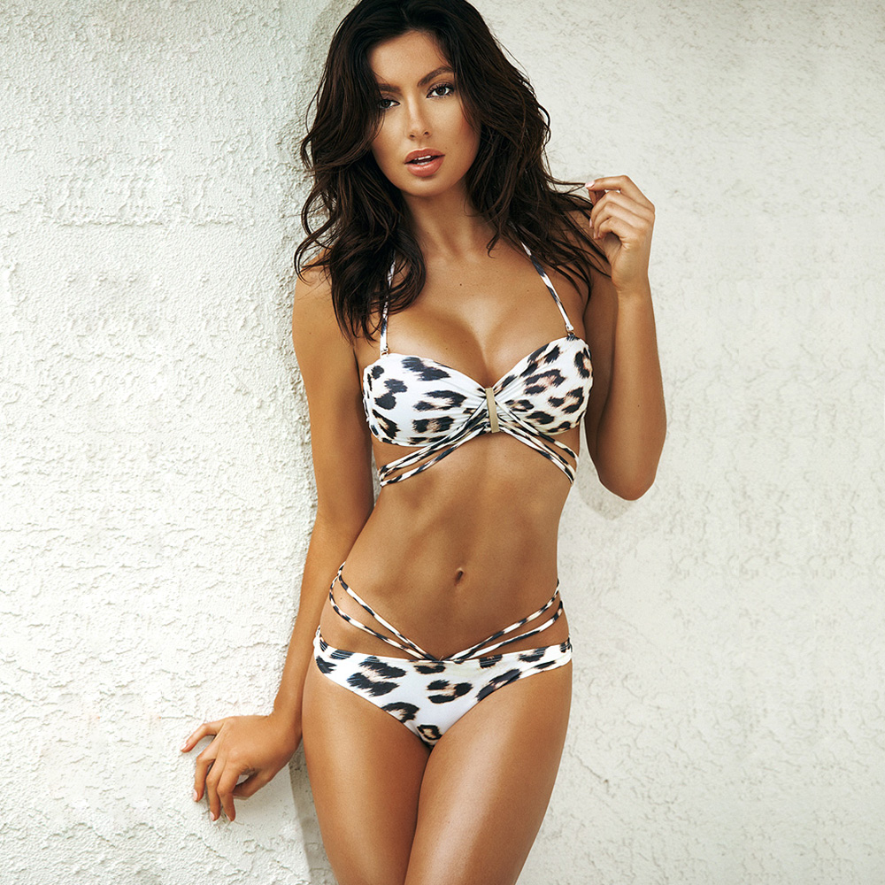 Sexy leopard bikini bandeau swimsuit female push-up brazilian bikini string swimsuit separate female swim suit women swimwear Купальник