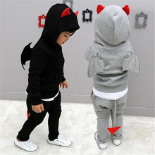 2017 New Spring Boy Clothing Sets Children Demon Wing Fashion Sets Kids Boys Jacket + Pant  2PCS Sport Suits Costume