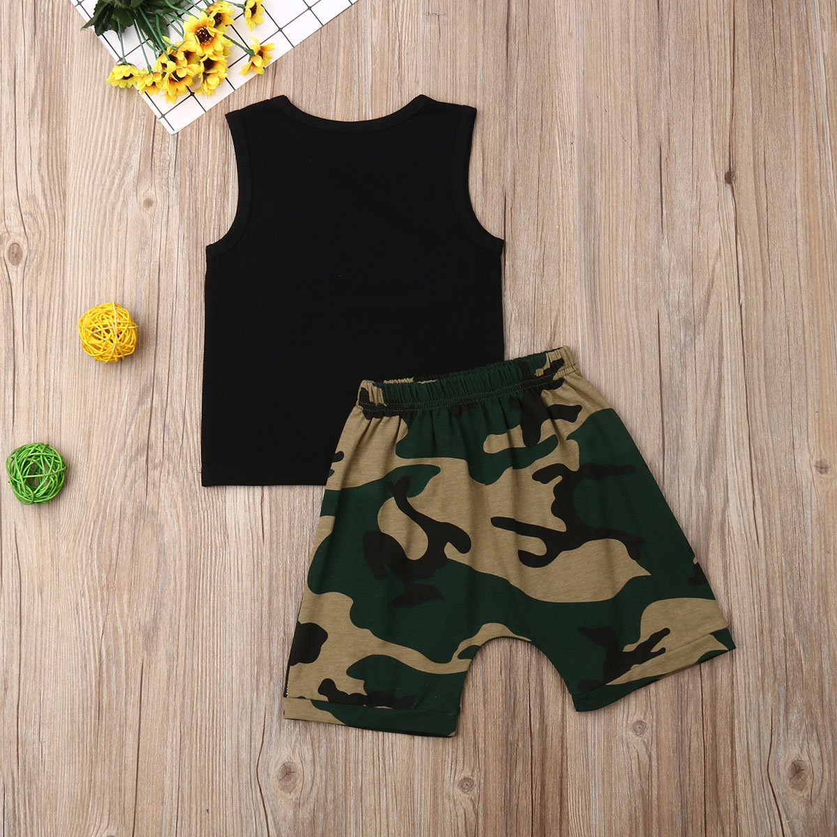 0 24M Toddler Infant Baby Boy 2Pcs Summer Clothes Letter Print Sleeveless Vest Tops Camouflage Shorts Outfit Baby Clothing Set in Clothing Sets from Mother Kids