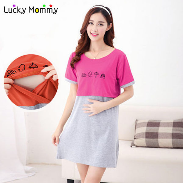 b3b0ceca094 Plus Size Maternity Wear Clothing Nursing Clothes Summer Cotton Maternity  Dresses for Pregnant Women Breastfeeding Tops
