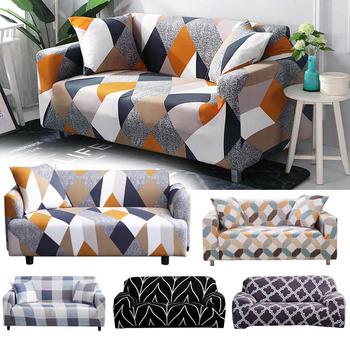 Stretch Slipcovers przekrój elastyczny elastyczny pokrowiec na sofę do salonu narzuta na sofę w kształcie litery L pokrowiec na fotel pojedynczy dwa trzy siedzenia tanie i dobre opinie coolazy 90-140cm 145-185cm 195-230cm 235-300cm sofa slipcover Rozkładana okładka Drukowane Nowoczesne Geometryczne Trzy-seat sofa