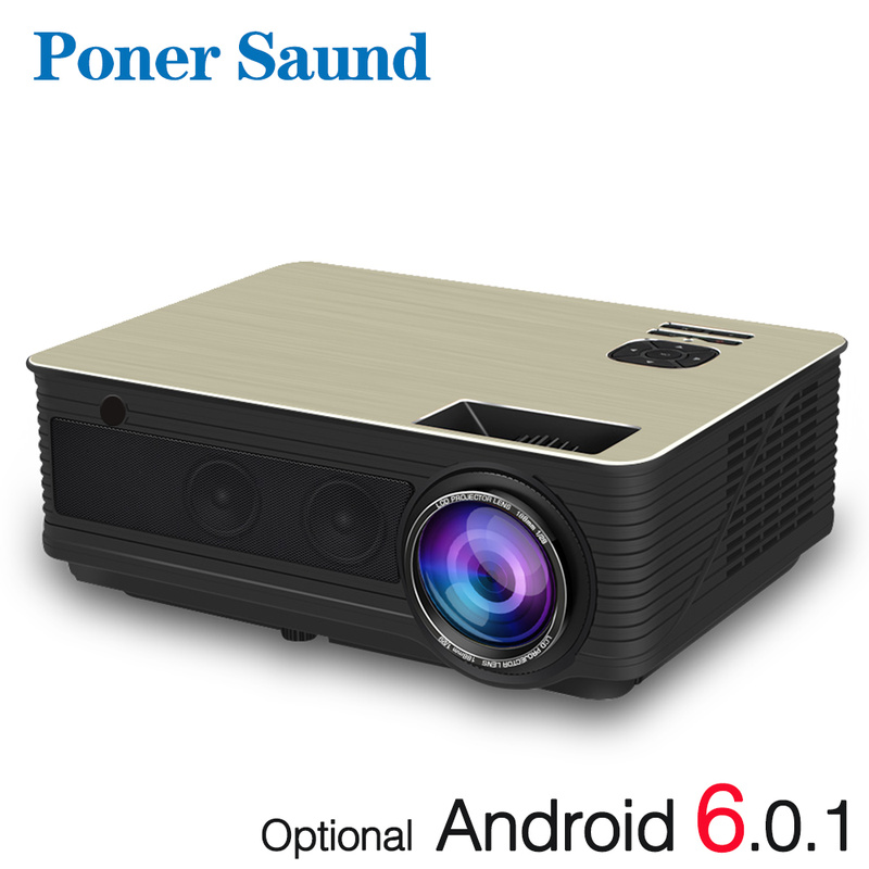 Poner Saund M5 Full HD LED Projector 4500 Lumens Optional Android 6.0 WiFi Bluetooth HD 1080P Beamer HDMI USB Video Proyector poner saund 4800 lumens wifi 3d home theater 1280x800 pc multimedia 1080p hd video hdmi usb portable lcd led projector proyector
