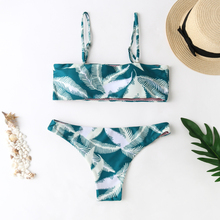 Green Leaf Bikini Swimwear Women Print Bandeau Push Up Sexy Swimsuit Micro Mini Beach Bathing Suit Girls
