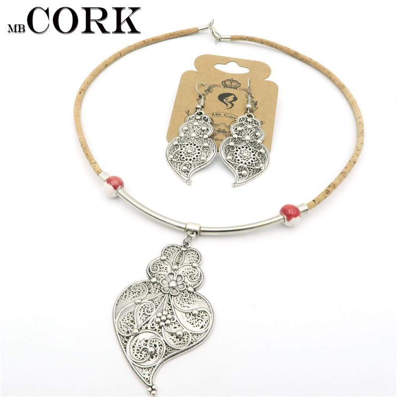 Natural Cork Portuguese viana heart necklace earrings ...
