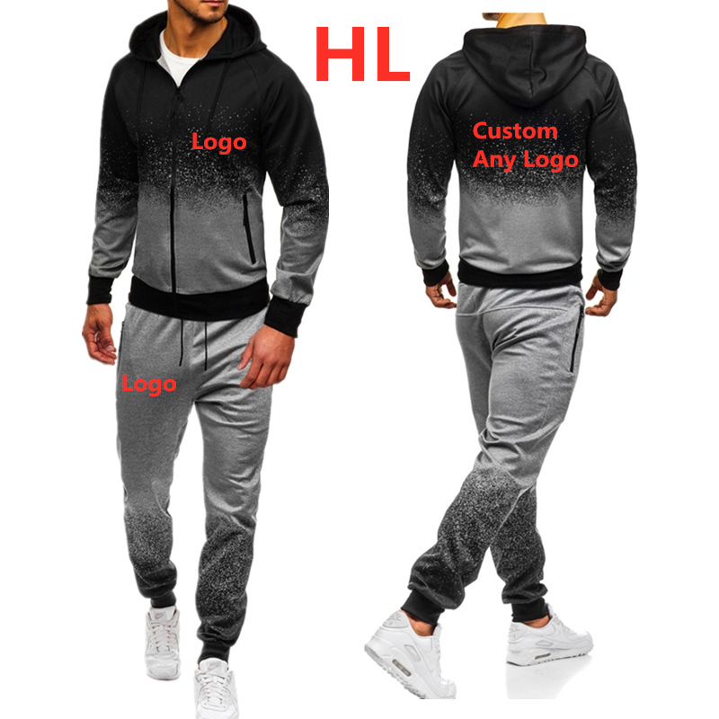 HL Men Custom Pattern Hoodies Print Brand Car Logo Man Gradient Hooded Mens Jacket Harajuku Sweatshirt Popular Sweatpants Suit