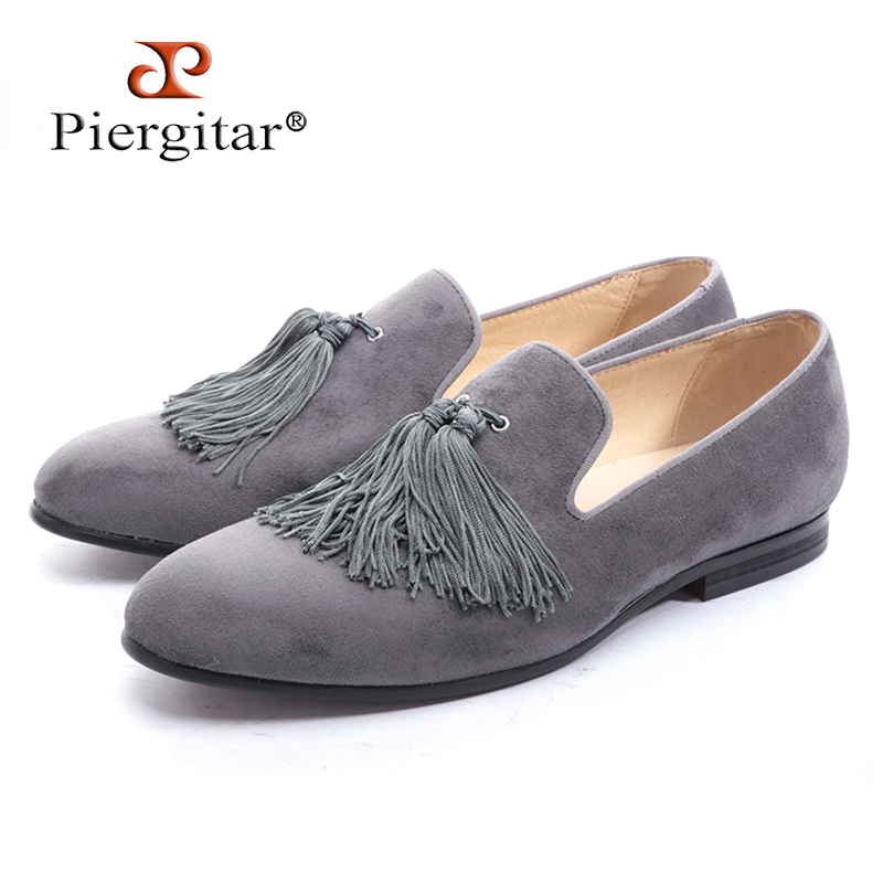 Piergitar new black and gray color velvet men handmade shoes with exquisite tassel party men loafers plus size men's dress shoes стоимость
