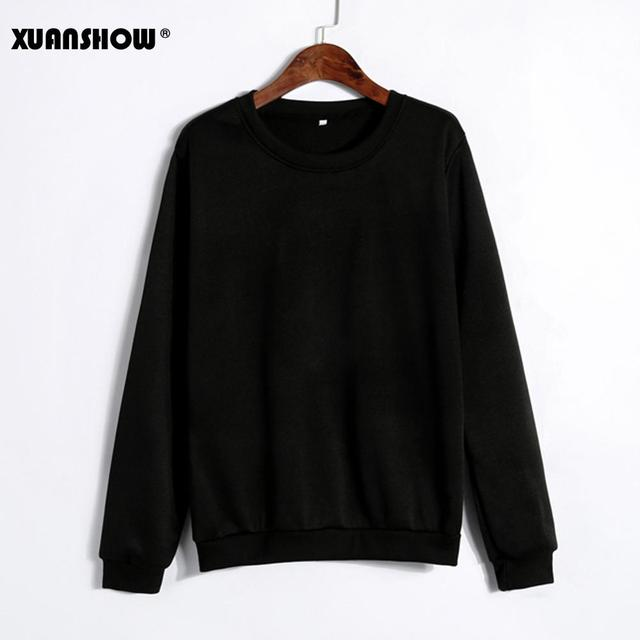 XUANSHOW Spring Autumn Winter Unisex Sold Color Clothes Fleece Long Sleeve Man Woman Pullover Moletom Sudadera Mujer S-5XL 2