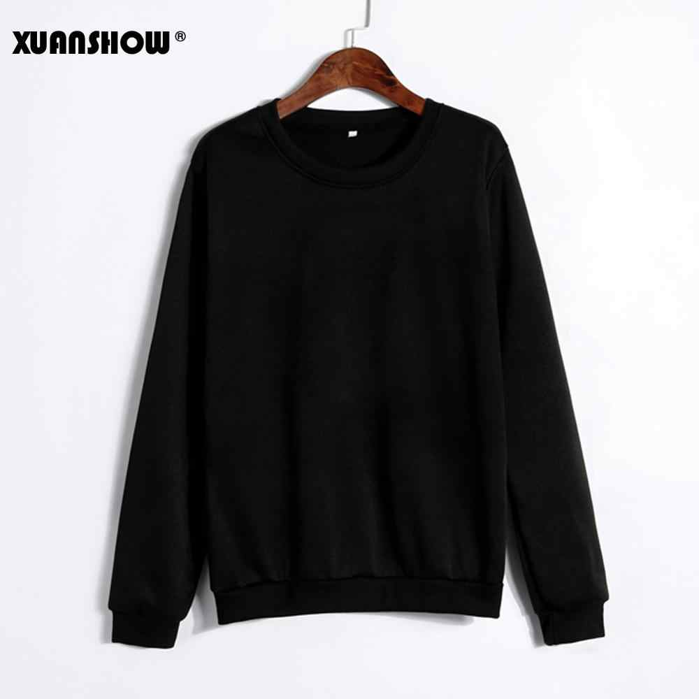 XUANSHOW 2019 Unisex Sold Color Clothes Fleece Long Sleeve Sweatshirt Man Woman Pullover Moletom Sudadera Mujer S-5XL