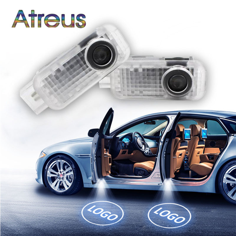 Atreus 2X LED Courtesy Lamp Car Door Welcome Light 12V Projector For <font><b>Audi</b></font> A3 <font><b>A4</b></font> B6 B8 B7 A6 C5 C6 Q5 A5 Q7 Q3 TT R8 A8 A7 S Line image