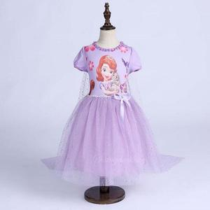 High Quality princess dress Fluffy children Costume Sophia Party Summer Baby Kids Birthday suit Dresses for girls clothes(China)