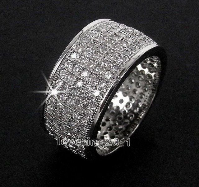 Victoria Wieck Full Pave set 250pcs Topaz Simulated Diamond 10KT White Gold Filled Wedding Band Ring Set Sz 5-11 Free shipping