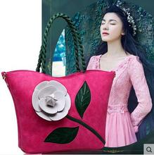 PU leather hanRealer brand spring new women tote with a flower bucket bag high quality dbag vintage shoulder messenger bags