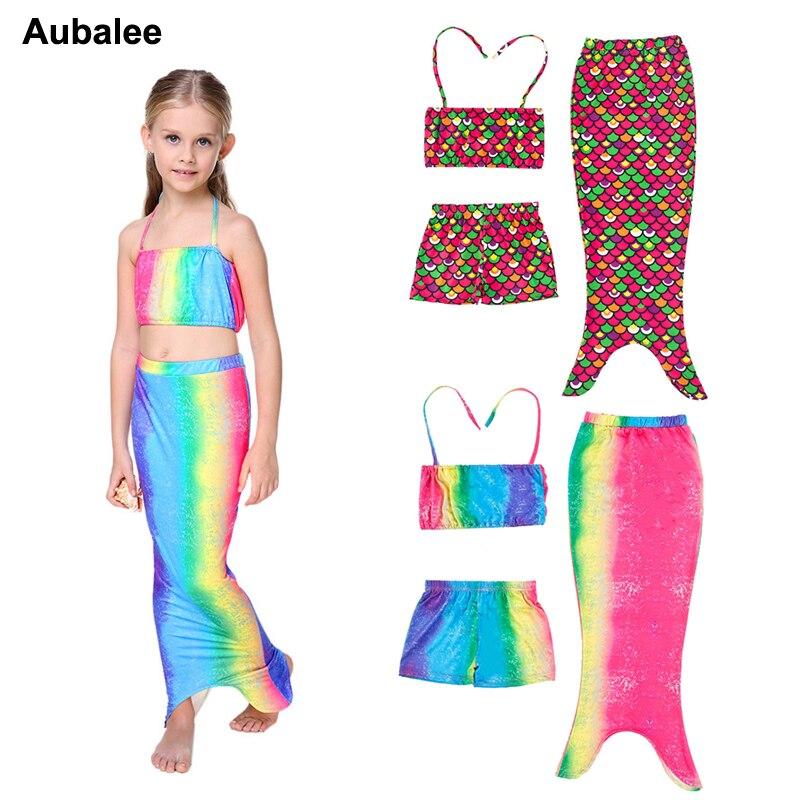 2018 Summer Girls Baby The Little Mermaid Tail Swimsuit Princess Ariel Dress Cosplay Fancy Costume Children Bikini Swimwear 3PCS