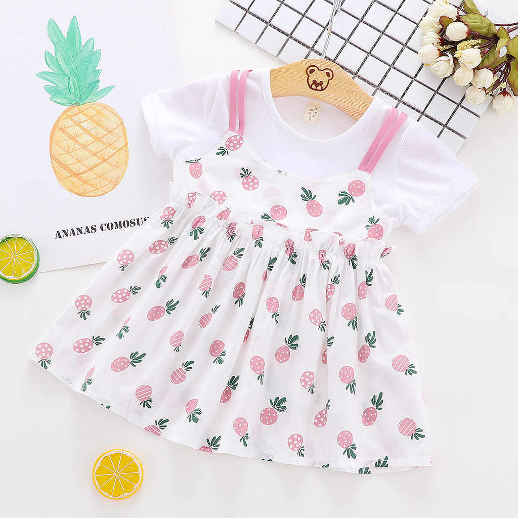 SAGACE с длинными рукавами для маленьких девочек мини-юбка летняя одежда для девочек принт фрукт, ананас оборки Поддельные 2 предмета платье принцессы (3 M-24 M) Apl10