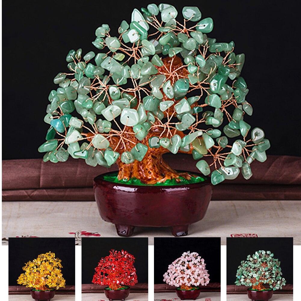 Офис в стиле фэн-шуй бонсай, мини-кристалл, денежное дерево, удачи, гостиная, день рождения, богатство, красочное украшение для дома и стола