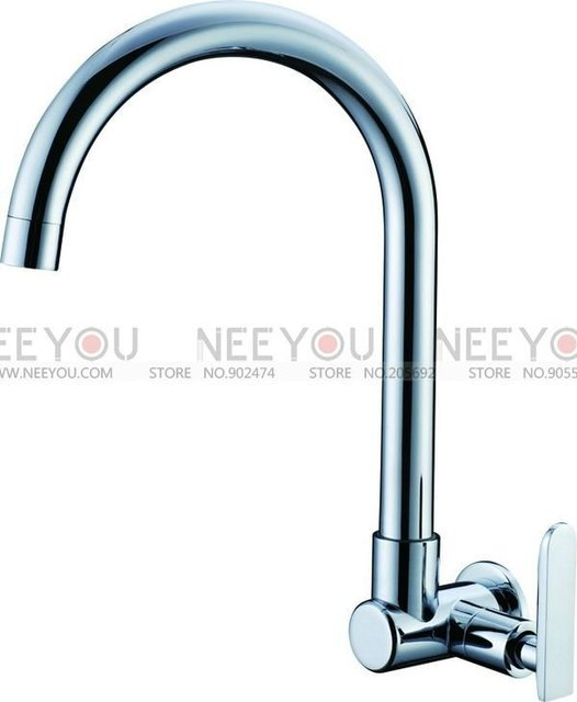 Wall Mounted Brass Chrome Single Cold Basin Faucet Cold Water Kitchen Tap NY16047