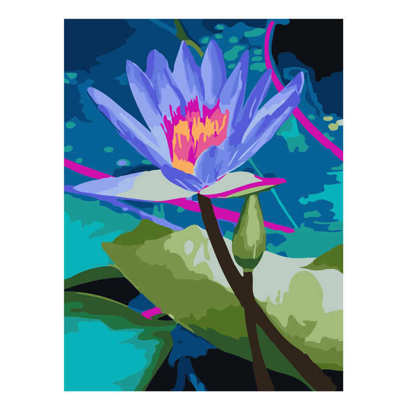 Coloring By Numbers,Diy Painting Numbers,Decorative Picture Lotus,Flower Pictures Numbers