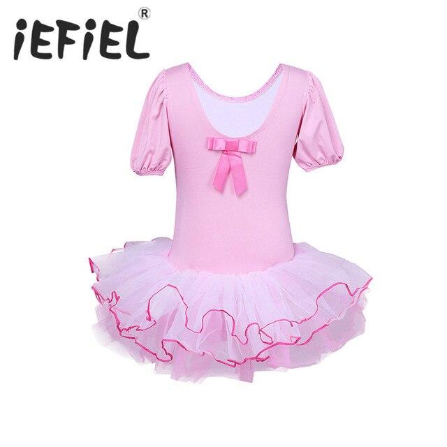7a2660f90995 Kids Girls Short Sleeves Leotard Costume Tutu Dance Dress Flower ...