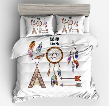Bohemian Stgle Bedding Set Tent Feathers Duvet Cover White Bed Set Beautiful Pillow case Home ornament twin full queen king size