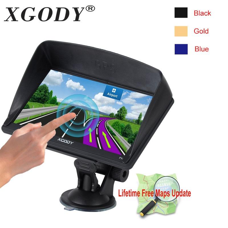 Xgody 715 7 Inch Hd Car Gps Navigation 128M+8GB Capacitive Screen Truck Gps Europe Sat Nav Lifetime Map Navigator Russia Navitel