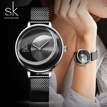 SHENGKE Brand Women Watch Creative Rhinestone Cool Black Stainless Quartz Watches Ladys Fashion Casual Waterproof Gift Clock