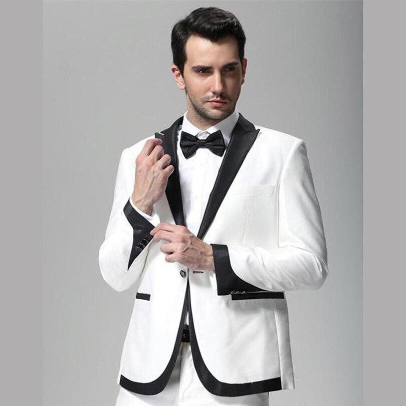 Hommes Porter Veste Pour Revers Garçons Fit Blanc Dîner Costumes Slim Mariés  2019 Homme De Et D honneur Smokings Soirée Bal Parti Mariage Noir Hq0B1z e110460e84b