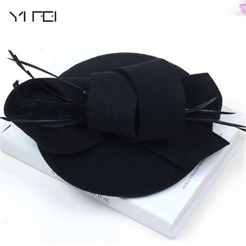 Women Wedding Hats Hair Accessories Fascinator Hat Autumn Winter Hollow Veil Wool Felt Women Fedoras Cocktail Formal Dress Hats