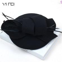 Kadınlar düğün şapkalar saç aksesuarları Fascinator şapka sonbahar kış içi boş peçe yün keçe kadın Fedoras kokteyl resmi elbise şapkaları