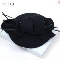 Mulheres Chapéus De Casamento Acessórios Para o Cabelo Fascinator Chapéu Outono Inverno Oco Véu Chapéus de Feltro de Lã Mulheres Chapéu de Feltro Cocktail Vestido Formal