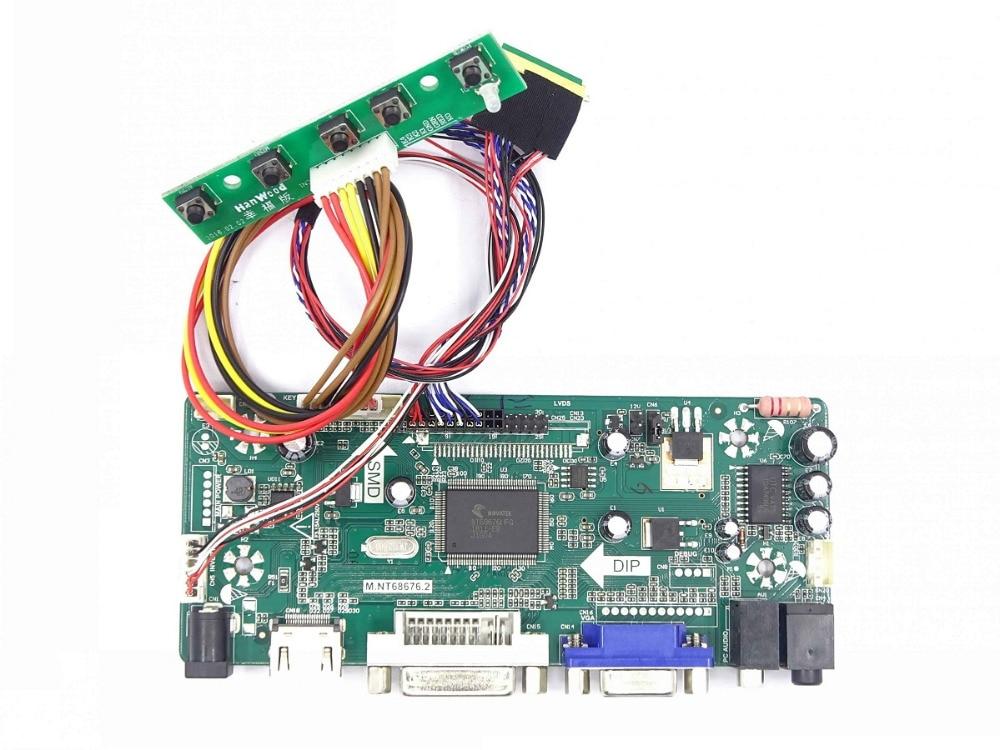 M.NT68676 HDMI DVI VGA LED LCD Controller Board Kit DIY For B156XW02 V3/V6 B156XW02 V2/V7 B156XW02 V0/V1 1366X768