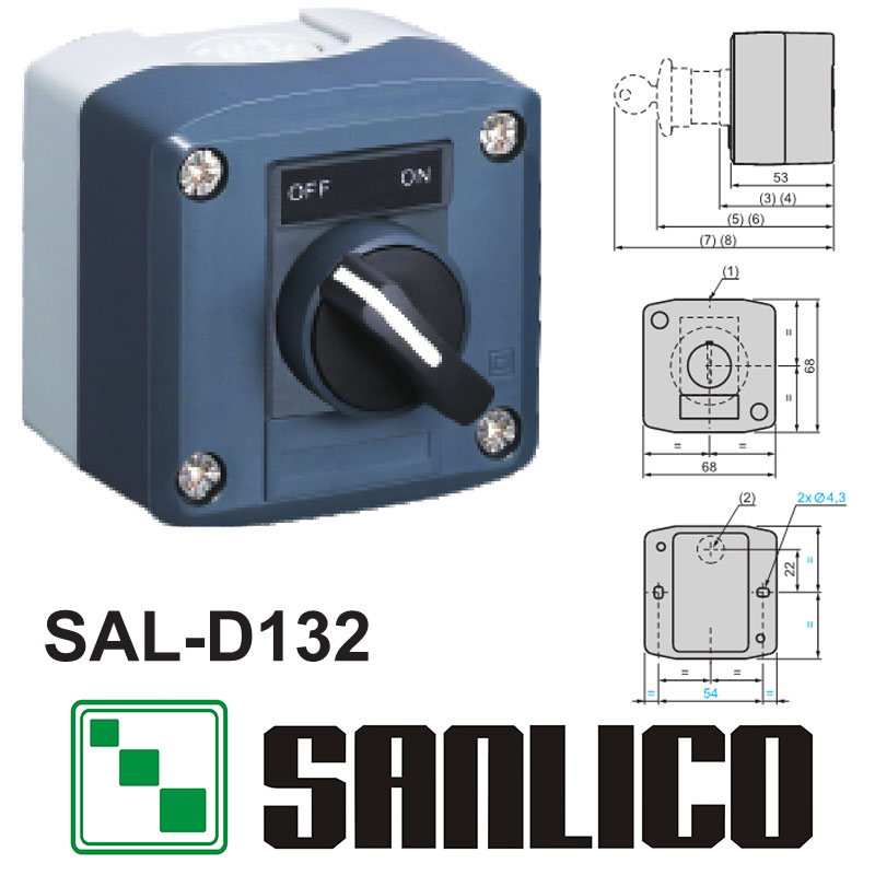 waterproof  control box push button switch station  SAL(LA68H XAL)-D132 rotary switch selector switch 2-position standard handle 660v ui 10a ith 8 terminals rotary cam universal changeover combination switch