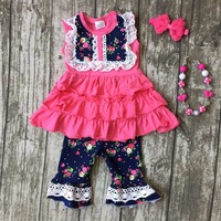girls baby Summer cotton hot pink navy outfit clothes boutique ruffles floral lace capris kids bow sets matching  accessories