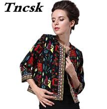 2017 spring Fashion women's clothing 7 minutes of sleeve embroidery printing female national wind short coat jacket