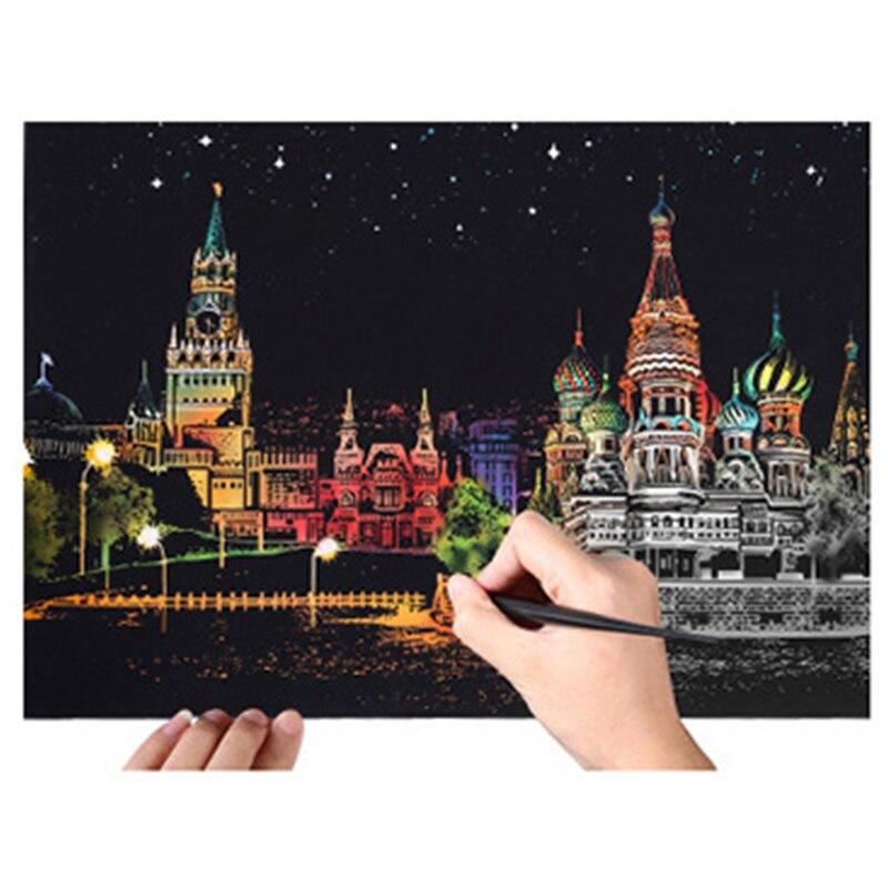 Gran Ciudad de noche cero pintura con herramientas de raspado de papel de memoria urbana escena de noche DIY regalo de cumpleaños