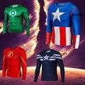 Moda Hombre Transpirable Camisa Superhéroe Ropa Para Hombre de Deporte de Secado rápido Camisa Camisa Ropa Comprimido