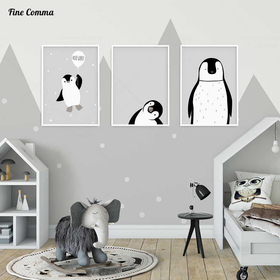 Nordic Style Kids Decoration Room Posters and Prints Poster Baby Wall Pictures for Living Room Penguin Wall Art Canvas Print
