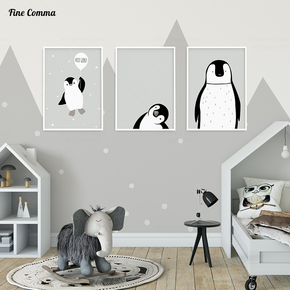 Nordic Style Kids Decoration Baby Room Posters and Prints Poster Wall Pictures for Living Room Penguin Wall Art Canvas Print