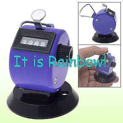Plastic 4 Digit Number Hand Tally Counter Purple New