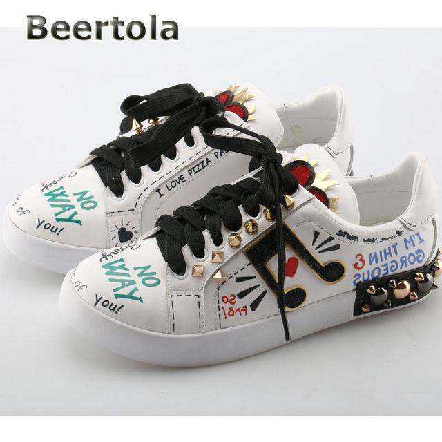 Luxury Designer Shoes Online Part - 15: Beertola Designer Shoes Women Luxury 2018 Note Graffiti Hand-Painted Tenis  Feminino Casual Flat Rivet Shoes Love White Shoes