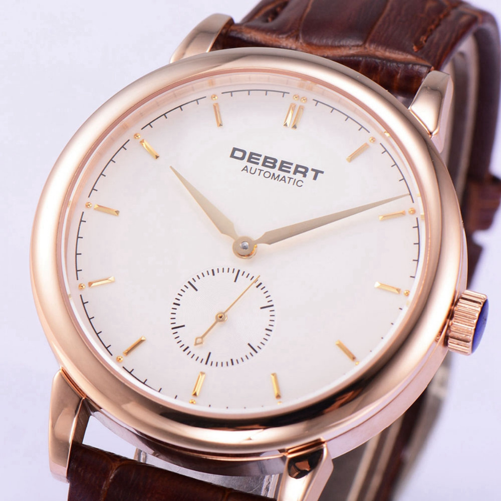 Debert 40mm Rosegold PVD Case sapphire White Dial relogio masculino Gold Hands Brown Strap Men Automatic WatchDebert 40mm Rosegold PVD Case sapphire White Dial relogio masculino Gold Hands Brown Strap Men Automatic Watch